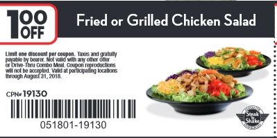 Take $1.00 off fried or grilled chicken salad.