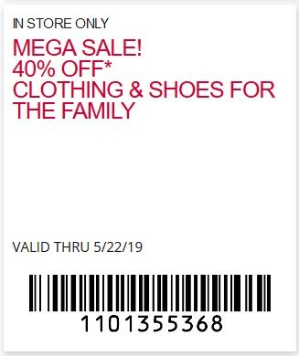 Mega Sale! 40% off clothing & shoes for the family.